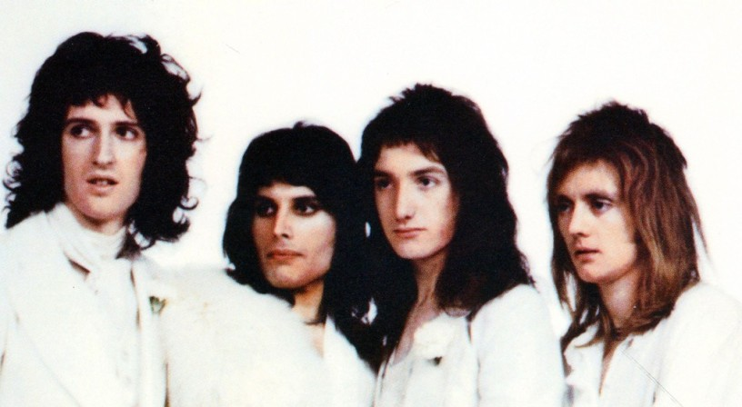 One of the many rejected photos taken by Mick Rock in November 1973 at Great Newport Street Studios for the inside cover of Queen's second album 'Queen II'.