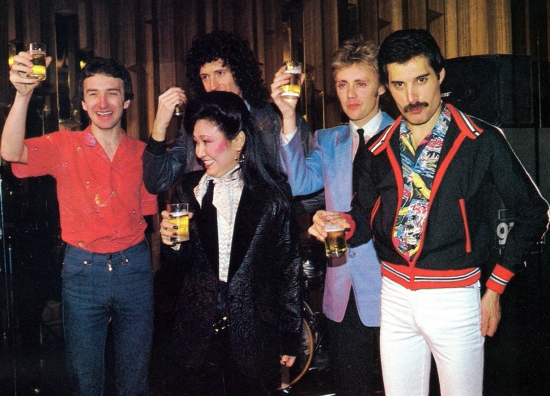 Queen at a party on their Japanese tour on 13th February 1981. Photo by Koh Hasebe.