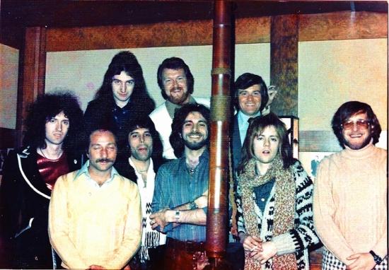 Queen at WFILPhiladelphia are (back row l-r) Guitarist Brian May, Bassist John Deacon, Elektra Regional Joe Baltzel , WFIL PD Jay Cook, (front l-r) Elektra Records Presiden
