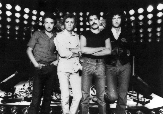 Queen on stage in front of the new lighting rig 'Fly Swatters' on the U.S 'The Game' tour in summer 1980. Photo by Neal Preston.