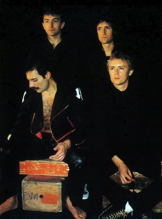 Queen on the set of the promotional video for 'Body Language' made in Toronto, Canada with Mike Hodges. The single was released in April 1982.