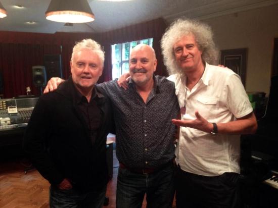 Roger Taylor, Chris Thomas & Brian May in studio, July 2013