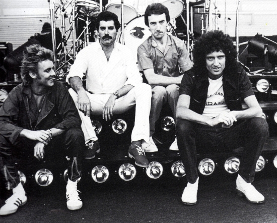 The band pose for photos at the sound check at Velez Sarsfield Stadium in Buenos Aires, Argentina in February 1981