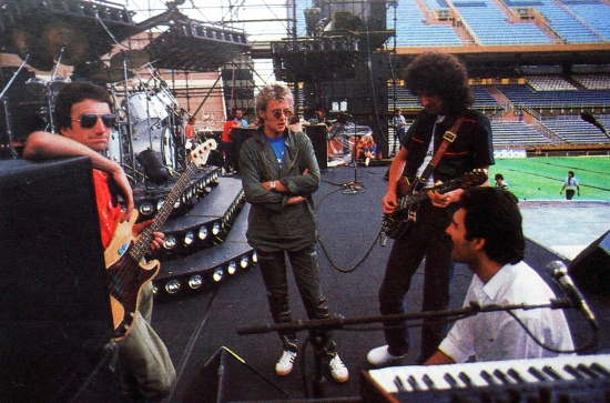 The band sound check at Velez Sarsfield Stadium in Buenos Aires, Argentina in February 1981.