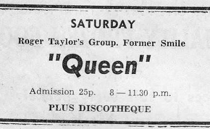 Pierwsza reklama koncertu Queen, gazeta The Cornishman, lipiec 1971 r.