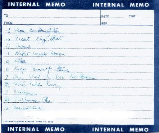 Odręcznie napisana przez Freddiego setlista, Londyn 10.03.1972 r.