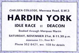 Informacja o koncercie Hardin & York w Chelsea College w Londynie, 21.11.1970 r. Jako support - Deacon