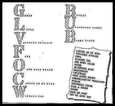 Setlisty napisane odręcznie przez Richarda Thompsona - większa zawiera nowe piosenki napisane przez Freddiego, październik 1969