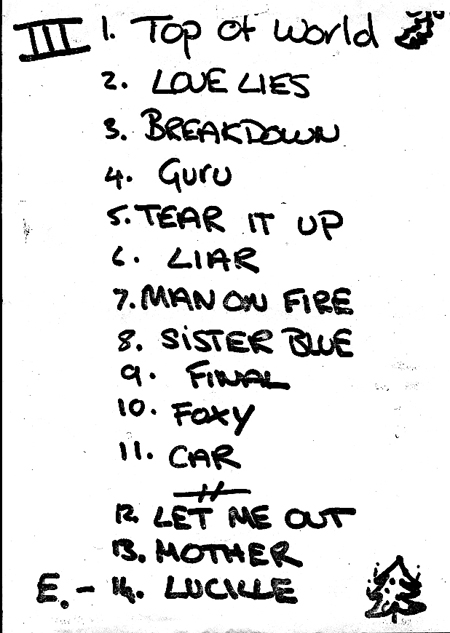 Setlista koncertu w Astoria Theatre, Londyn, 7 grudnia 1990 r.; fot.: queenconcerts.com