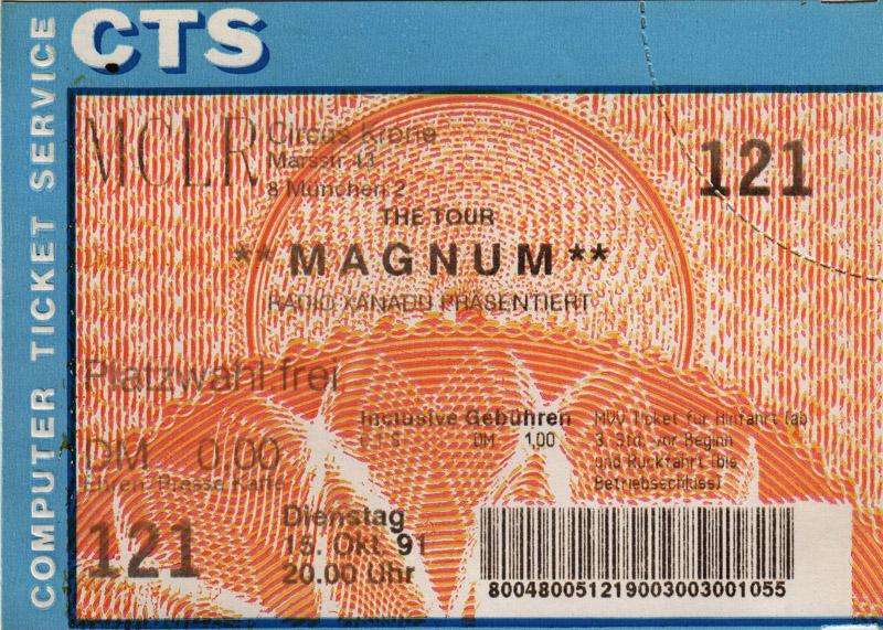 Bilet z koncertu w Monachium, 15 października 1991 r.; fot.: queenconcerts.com