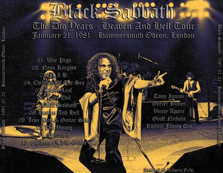 Tylna okładka bootlega z koncertu Black Sabbath w Hammersmith Odeon, 21 stycznia 1981 r.