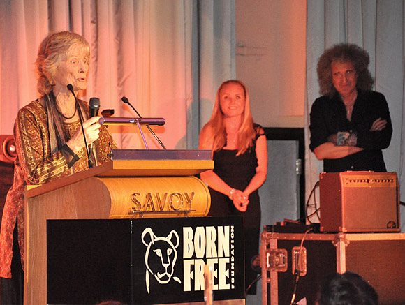 Virginia McKenna, Kerry i Brian podczas The Born Free Foundation Gala Dinner, 17 czerwca 2011 r.; fot.: queenconcerts.com