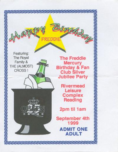 Plakat imprezy urodzinowej Freddiego z udziałem SAS Band i The Cross, 4 września 1999 r.; fot.: queenconcerts.com