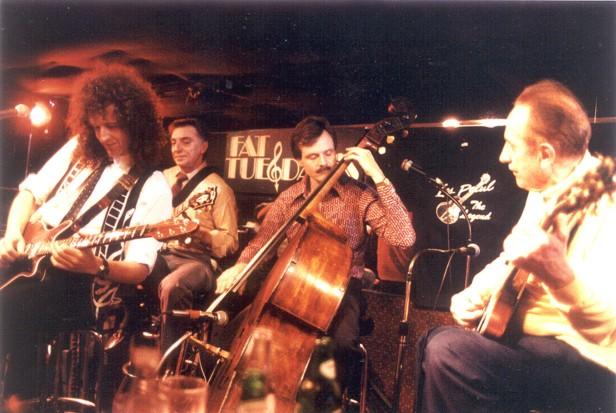 Brian May i Les Paul, 25 marca 1991 r.; fot.: rockandrolljournal.com