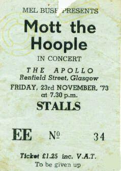 Bilet na koncert z Glasgow, 23 listopada 1973 r.; fot.: queenconcerts.com