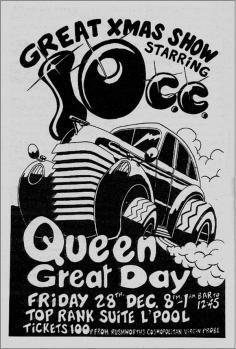 Plakat promujący koncert 10cc i Queen, Liverpool, 28 grudnia 1973 r.;  fot.: queenlive.ca