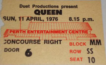 Bilet z pierwszego koncertu trasy, Perth, 11 kwietnia 1976 r.; źródło: queenconcerts.com