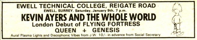 Ulotka promująca koncert Genesis i Queen w Ewell Technical College 9.01.1971 r.; fot.: queenconcerts.com