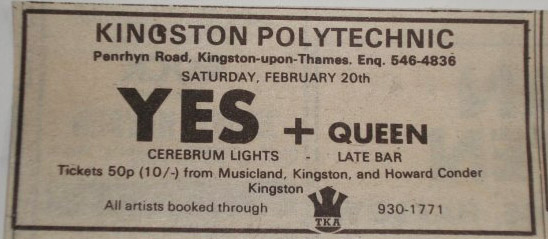 Ulotka promująca koncert YES i Queen w Kingston Polytechnic 20.02.1971 r.; fot.: queenconcerts.com