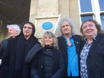 Neil Murray, Tony Iommi, Suzi Quatro, Brian May i Bernie Marsden; fot.: BBC Radio Gloucestershire; źródło: brianmay.com;
